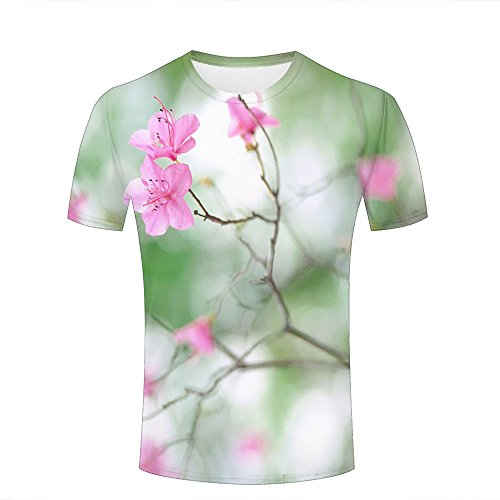 Mens 3D Printed T-Shirts Green Mountains and Pink Flowers Graphics Couple Tees A