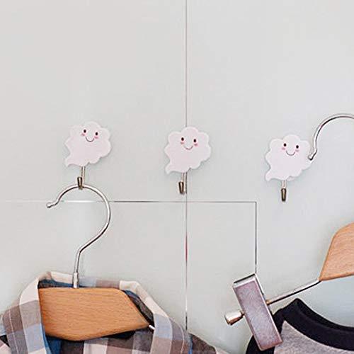 htrdjhrjy Actualizado Versión 3PCS Colgador de Toalla Creativo Lindo Smiling Nube Forma Autoadhesivo Ganchos de Pared Percha para Bolsas Sombreros Llave Baño Cocina para Decoración Hogar - WT