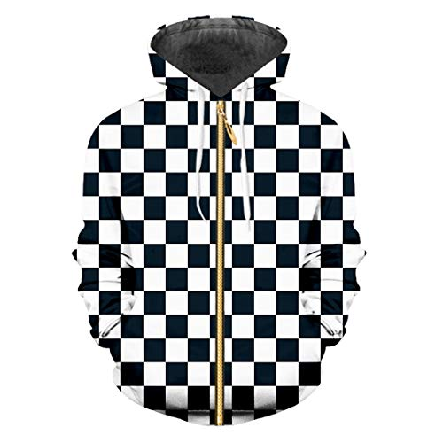 Zip Hoodies Herren Cool Print Schwarz Weiß Gitter 3D Sweatshirt Hoodie Harajuku Hiphop Long Sleeve Hooded Black White Grid S -