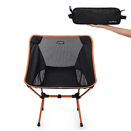 ch-AIR Kompakte Faltende Kampierende Rucksack-Stühle, Leichter Tragbarer Stuhl des Strandes, Atmungsaktiv Bequem, Perfektes Wandern/Fischen/Kampieren (Color : Orange)
