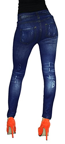 Leggings warme in Jeans Baumwolle Loock Optik Super Stretch Weich Betonte Blau 02
