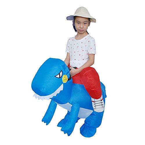 Kostüm Aufblasbare Lustige Blaue - HUIHUI Dino Kostüm für Kinder Aufblasbar Kostüme Karneval lustige Kleidung Dinosaurier T-Rex Cosplay (One Size, Blau)