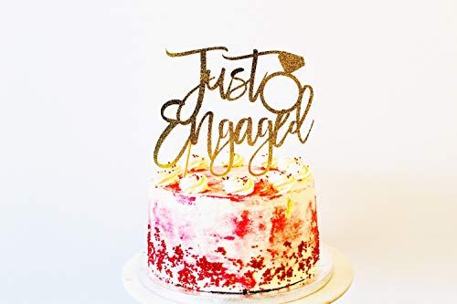 Just Engaged Cake Topper She Said Yes Engagement Party Wedding Engagement Cup Cakes Gold Party Diamond Party Glitter Cardstock Topper (Cake Gold Wedding Topper)