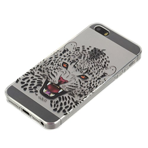 iPhone 5S Hülle, iPhone SE Hülle, Gift_Source [ Schwarze Katze ] Hülle Case Transparent Weiche Silikon Schutzhülle Handyhülle Schutzhülle Durchsichtig TPU Crystal Clear Case Backcover Bumper Case für  E1-Leopard