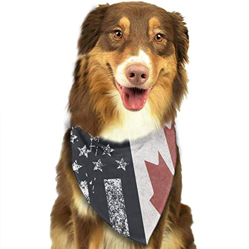 Rghkjlp Dogs Bandana Collars American Flag and Canada Flag Pets Triangle Neckerchief Puppy Bibs Scarfs Cats Scarfs Towel -