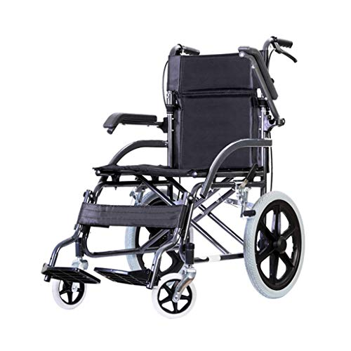 lcc Lightweight Transport Wheelchair, with folding Arms and Handbrake Portable walker for Adults, Large Storage Bag Aluminum alloy frame 100kg load