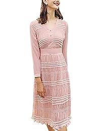 f45efee8d916 Vestiti Donna Eleganti Manica Lunga V Neck A-Linea Vestito Primaverile Abbigliamento  Vestiti in Chiffon
