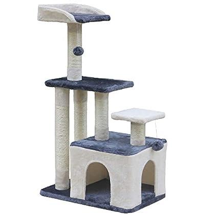 Wellhome Árboles para Gatos Rascador para Gato Escalador para Gatos Juguete de Sisal con Bola 100cm Gris & Beige