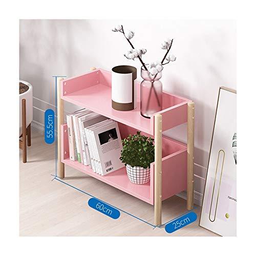 LUYIYI Bücherregal Lagerung Lagerung einfache Moderne Massivholz Multi-Layer-Balkonboden Kinderschreibtisch Studentenschrank (Color : Pink, Size : 2)