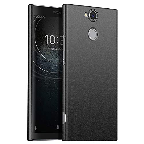 for Sony Xperia XA2 Plus Hülle, ZUERCONG [Sand Serie] Ultra Dünn Slim Cover Case Anti-Fingerabdrücke Shockproof Handytasche Hartplastik Schutzhülle für Sony Xperia XA2 Plus, Kies Schwarz