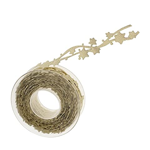 Sharplace 10m x 25mm Gold/Silver Star Ribbon Embroidered Lace Trims Embellishment Crafts - Gold, as