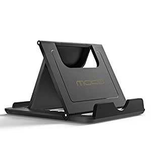 Tablet Stand , MoKo Multi-angle Fold-up Rubber Desktop Holder Cradle Mount Dock For Smartphone, Tablet(6-8 inch) and E-reader, iPhone SE/6s/6s Plus, Galaxy S7/S7 Edge, iPad mini 4/iPad Pro 9.7, BLACK