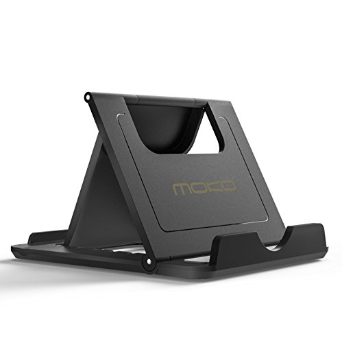 "MoKo Mini Portable Handy / Tablet Ständer - Multi-Winkel Faltbar Gummi Desktop Halterung für 6-8"" Tablet, E-Reader, Smartphone, iPhone 7 / 7 Plus, iPad, Galaxy Tab, S7/ S7 Edge, Huawei P9, Schwarz"