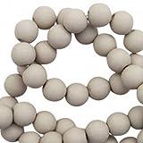 Sadingo Perlen zum auffädeln, Matte Kunststoffperlen - 6 mm - 100 Stück - Schmuck basteln, Armbänder, Ketten selber Machen, Farbe:Grau
