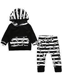 SamMoSon ☀☀Ropa De Punto para Bebés Niña,Halloween Niño Bebé Niños Tops con Rayas Pantalones con Capucha Trajes 2 Unidades Conjunto de Ropa