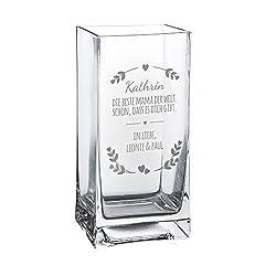 Casa Vivente Blumenvase mit Gravur - Beste Mama der Welt - Personalisiert mit Namen - Glasvase für Schnittblumen - Deko-Vase als Muttertagsgeschenk - Geschenkideen für Frauen zum Geburtstag