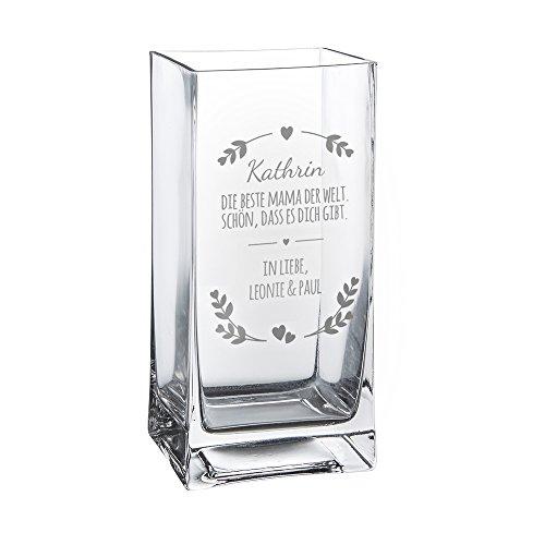 ase mit Gravur - Beste Mama der Welt - Personalisiert mit Namen - Glasvase für Schnittblumen - Deko-Vase als Muttertagsgeschenk - Geschenkideen für Frauen zum Geburtstag ()