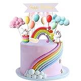 Simoda Tortendeko Einhorn Geburtstag Kuchen Regenbogen Happy Birthday Girlande Luftballon Wolke...