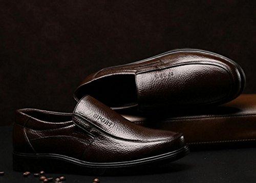 GRRONG Herren Leder Schuhe Freizeit Echtes Leder Breathable Schwarz Braun Brown