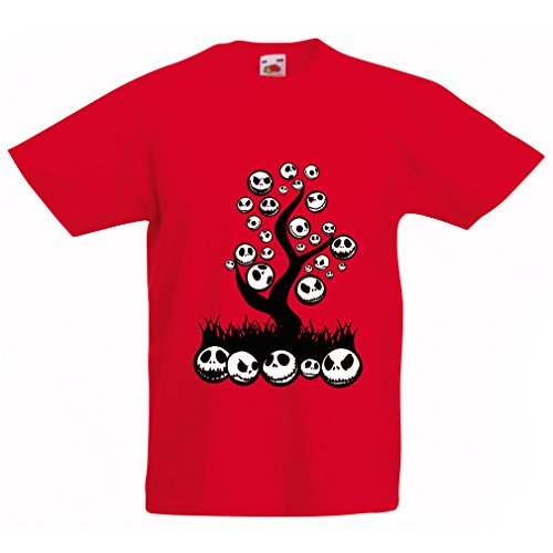 Kinder T-Shirt Scary! (5-6 Years Rot Mehrfarben)