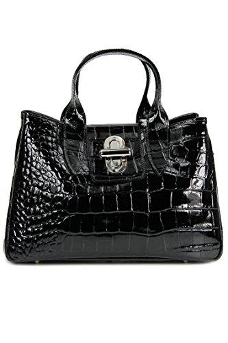 BELLI ital. Echt Leder Handtasche Henkeltasche schwarz lack Kroko Prägung - 36x25x18 cm (B x H x T) (Handtasche Leder Prägung)