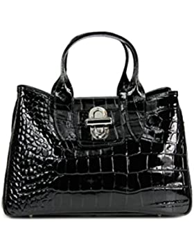 BELLI ital. Echt Leder Handtasche Henkeltasche schwarz lack Kroko Prägung - 36x25x18 cm (B x H x T)