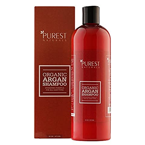 Purest Naturals Organic Argan Oil Daily Shampoo - Best Moisturizing, Volumizing Sulfate Free Shampoo for Women, Men & Teens - Use For Dry, Damaged & Colored Hair - Anti Aging Hair