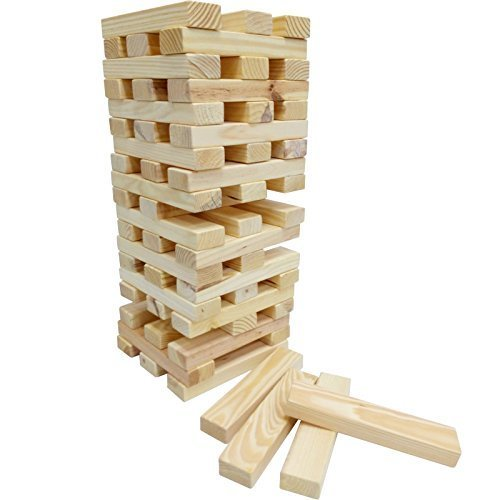 Giant 60 Piece Wooden Tumbling Tower Blocks Garden Game Outdoor Family Party Jumbo Fun Toy