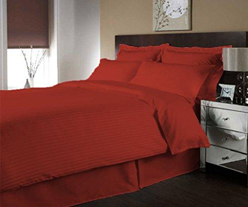 scalabedding Luxe 300Fäden aus ägyptischer Baumwolle Streifen Bettbezug farblich und Decken Kissen komplett von/Königin bordeaux (Ägyptische Baumwolle Streifen-decke)