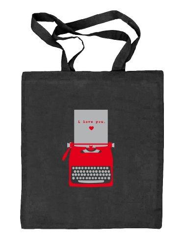 Shirtstreet24, Valentinstag - Love Typewriter, Natur Stoffbeutel Jute Tasche (ONE SIZE) schwarz natur