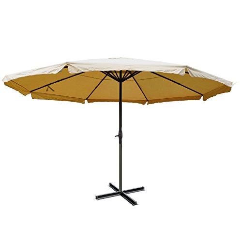 Alu-Sonnenschirm Meran Pro, Gastronomie Marktschirm mit Volant Ø 5m ~ creme ohne Ständer