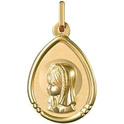 VIERGE MARIE AURÉOLÉE - Médaille Religieuse - Or 18 carat - Hauteur: 16 mm - Largeur: 13 mm - www.diamants-perles.com