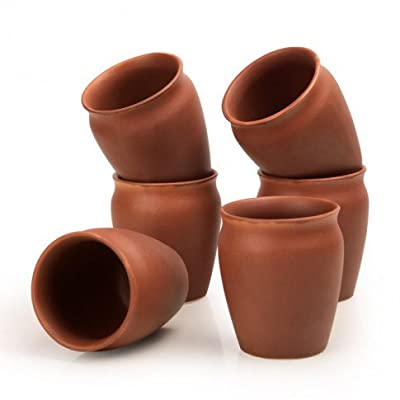 StyleMyWay Handcrafted Brown Ceramic Kullad Mugs-Set of 6