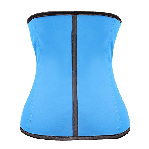Kiwi-rata Damen Latex Waist Training Sport Unterbrust Korsett Cincher Shaper Body Tailenmieder Blau