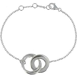 Les Poulettes Bijoux - V Bracelet Argent Trois Anneaux Entrelacés