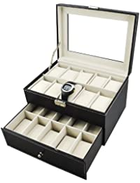Popamazing Watch Box Large 6/10/12/20/24 Mens Black Leather Display Glass Top Jewelry Case Organizer (20 Slots)