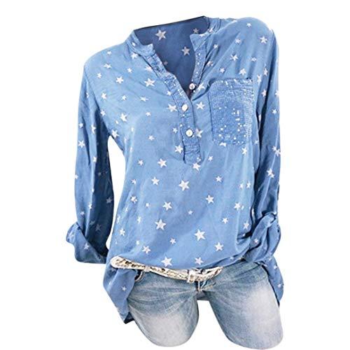 MEIbax Frauen Mode Plus Size Print Taschen Knopf Langarm Shirt Damen Tops Bluse Oberteile...