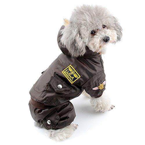 Meer Erwachsene Sweatshirt (SELMAI Haustier Kostüm Airman Apparel Winterkleidung Fleece Hunde outfits für kleine Hunde Große Katze Schneeanzug Kapuzenoverall wasserdicht kaltes Wetter Gehen im Freien Braun XS)