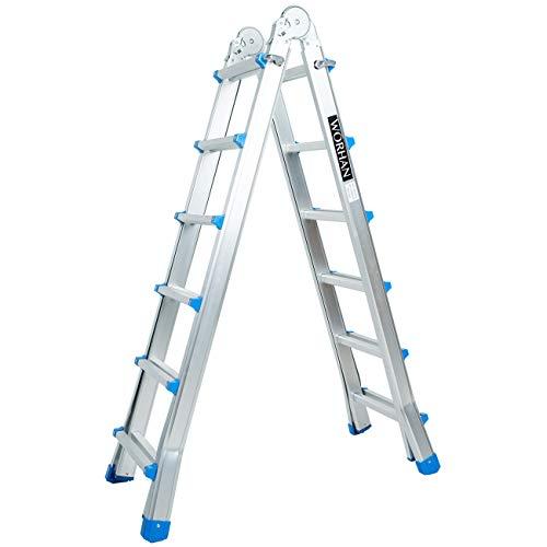 WORHAN® Escalera 587cm Aluminio Telescopica 5.87m Multifuncion Multiuso Aluminio Plegable Tijera L6