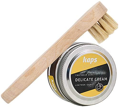 Langlauf Schuhbedarf Kaps Delicate Cream 50ml Schuhcreme + Auftragsbürste Schuhputzset (rohrzucker)