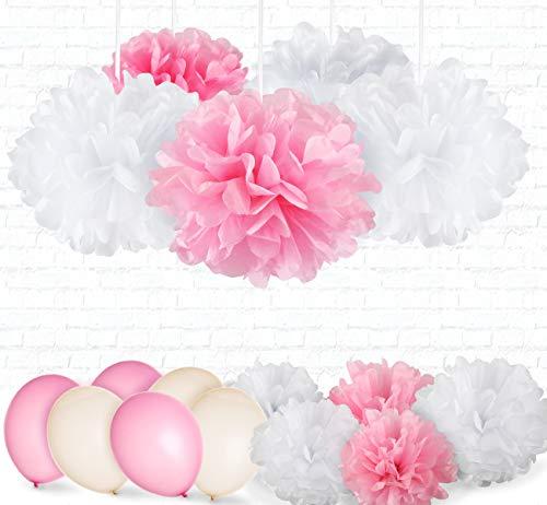 31er Seidenpapier PomPoms Luftballons weiß rosa Hochzeit Party Deko Absofine Tissue Papier Blume Pompom Luftballon Dekoration