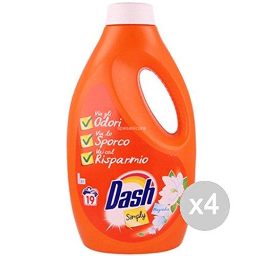 Dash Simply Lot de 4 bouteilles de lessive liquide, de 19 lavages Parfum : magnolia - Idéal pour lavage du linge en machine à laver Dash