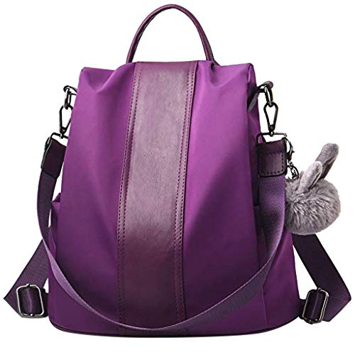 Dorical Rucksack Handtasche für Damen Frauen Rucksack Wasserdichte Nylon Schultaschen Anti-Diebstahl Tagesrucksack Schulrucksack,Umhängetasche, Backpack Schultertasche Tasche(Lila)