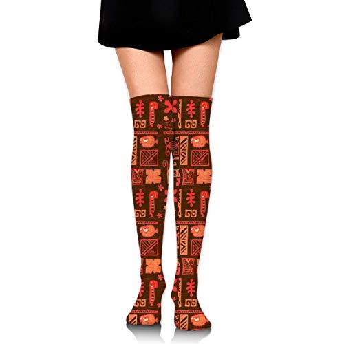 Jxrodekz Knee High Socks Tiki Tony Tapa Orange Long Socks Boot Stocking Compression Socks for Women