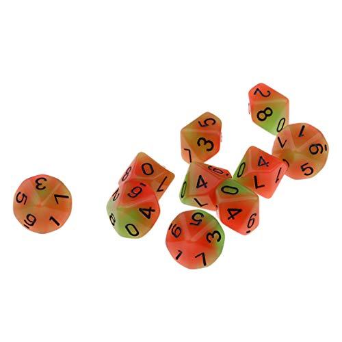 10 Seitig D10 Dice Würfel Spielwürfel für Brettspiel Partyspiel, Glow in The Dark - Orange + Grün ()