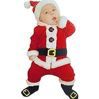 Sunbona 4Pcs Christmas Set Outfits Infant Baby Boys Girls Warm Santa Christmas Coat+Pants+Hat+Socks Clothes (12~18Months, Red)