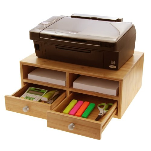 Bamboo Printer Stand, Monitor Stand, Desk Tidy Organiser with Drawers Test