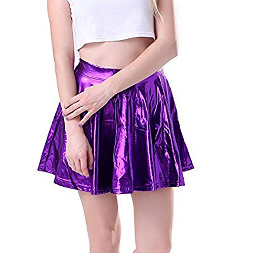 VENMO 2019 Damen Basic Vielseitige Dehnbar Rock Frauen Ballsaal Latein Tango Dance Kleid Skate Wrap Schal Dancewear Leder Ausgestelltes Gefaltetes A-Line Kreis KostüM Skater(Lila,XL)