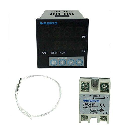 Inkbird 100-240V ITC-106VH Digital PID Temperaturregler Thermostat für Bierbrauen, PT100 Temperatursensor, K Thermoelement Sensor, 25DA SSR Halbleiterrelais, 40A SSR (ITC-106VH+PT100+25A SSR) Ac-wärme-thermostat