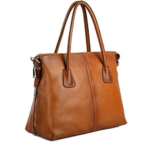 Yaluxe Damen Vintage Style Soft Leder Satchel Purse Shopper gross Schultertasche passt 13 Zoll Laptop braun -